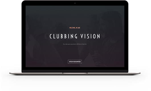 Page d'accueil Clubbing Vision mise en situation MacBook Pro