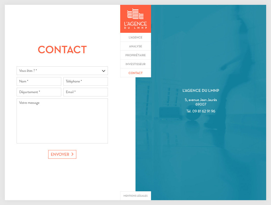 Page Contact L'Agence du LMNP
